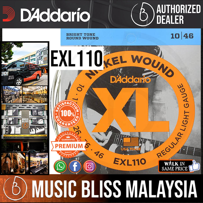 D'Addario EXL110 Nickel Wound Electric Strings -.010-.046 Regular Light - Music Bliss Malaysia