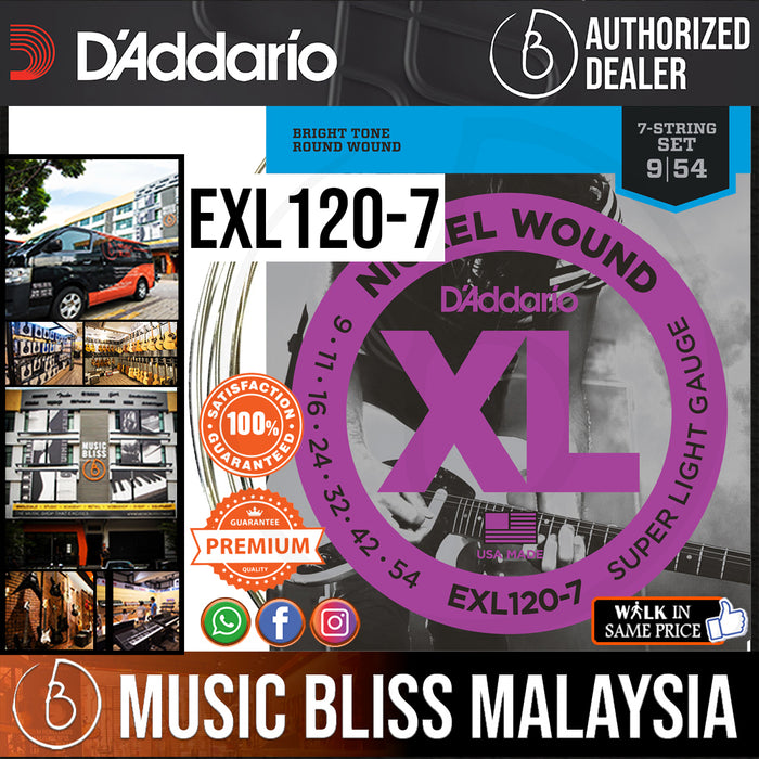 D'Addario EXL120-7 Nickel Wound Electric Strings -.009-.054 7-string Super Light - Music Bliss Malaysia