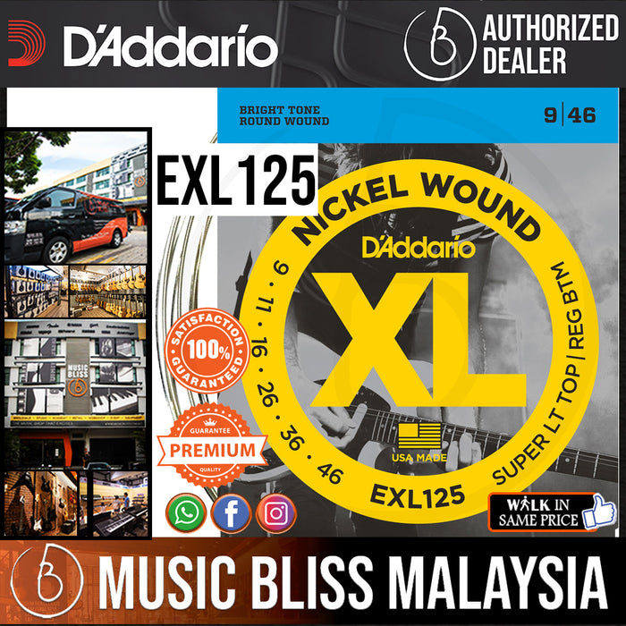 D'Addario EXL125 Nickel Wound Electric Strings -.009-.046 Super Light Top/Regular Bottom - Music Bliss Malaysia