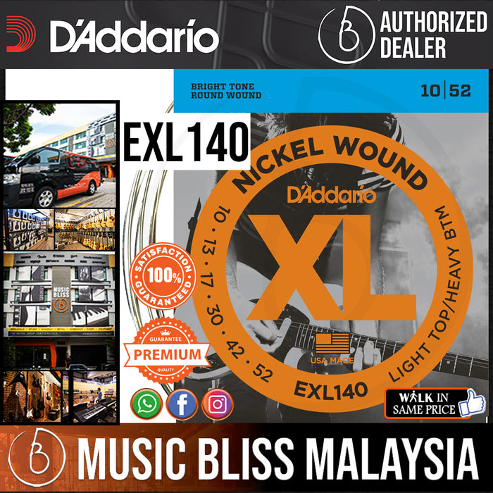 D'Addario EXL140 Nickel Wound Electric Strings -.010-.052 Light Top/Heavy Bottom - Music Bliss Malaysia