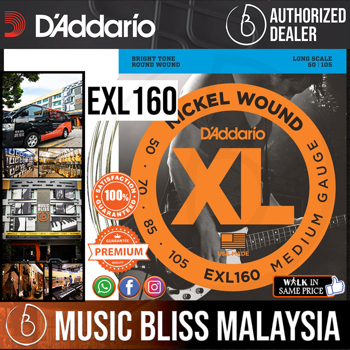 D'Addario EXL160 Medium Nickel Wound Long Scale Bass Strings - .050-.105 - Music Bliss Malaysia