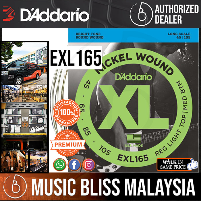 D'Addario EXL165 Regular Light Top/ Medium Bottom Nickel Wound Long Scale Bass Strings - .045-.105