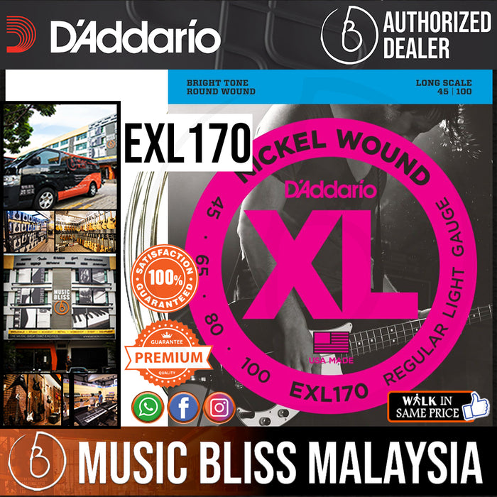 D'Addario EXL170 Regular Light Nickel Wound Long Scale Bass Strings - .045-.100 - Music Bliss Malaysia