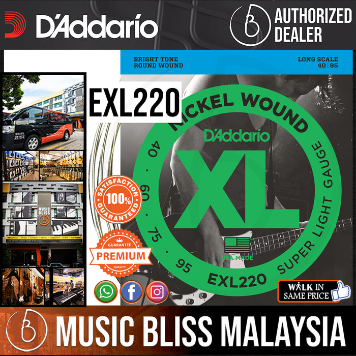 D'Addario EXL220 Nickel Wound Long Scale Bass Strings - .040-.095 Super Light - Music Bliss Malaysia