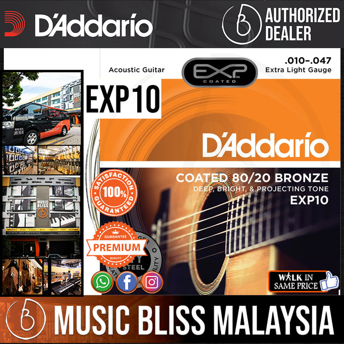D'Addario EXP10 Extra Light Coated 80/20 Bronze Acoustic Strings - .010-.047 - Music Bliss Malaysia