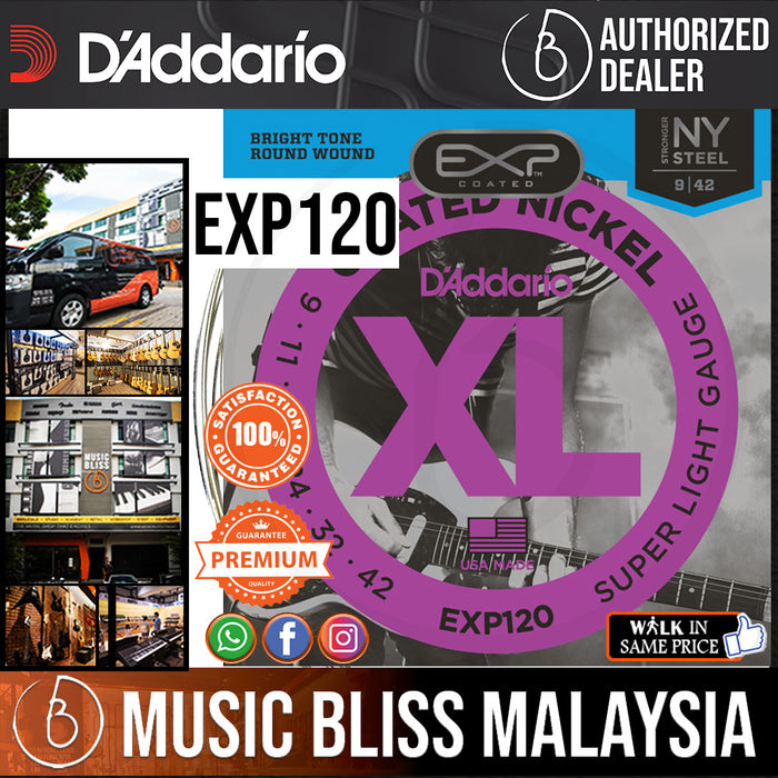 D'Addario EXP120 Coated Nickel Wound Strings -.009-.042 Super Light