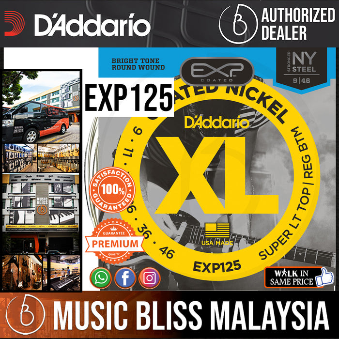 D'Addario EXP125 Nickel Wound Electric Strings -.009-.046 Super Light Top/Regular Bottom - Music Bliss Malaysia