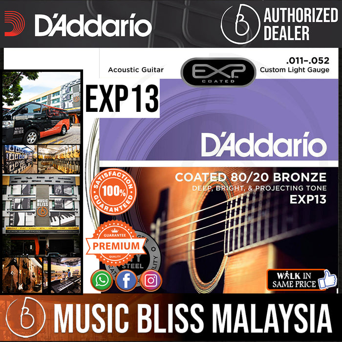 D'Addario EXP13 Custom Light Coated 80/20 Bronze Acoustic Strings - .011-.052
