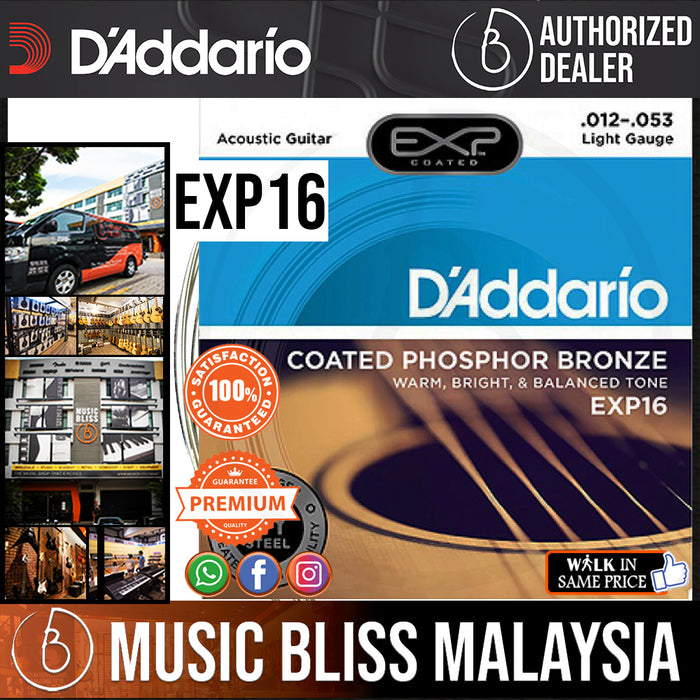 D'Addario EXP16 Coated Phosphor Bronze Light Acoustic Strings - Music Bliss Malaysia