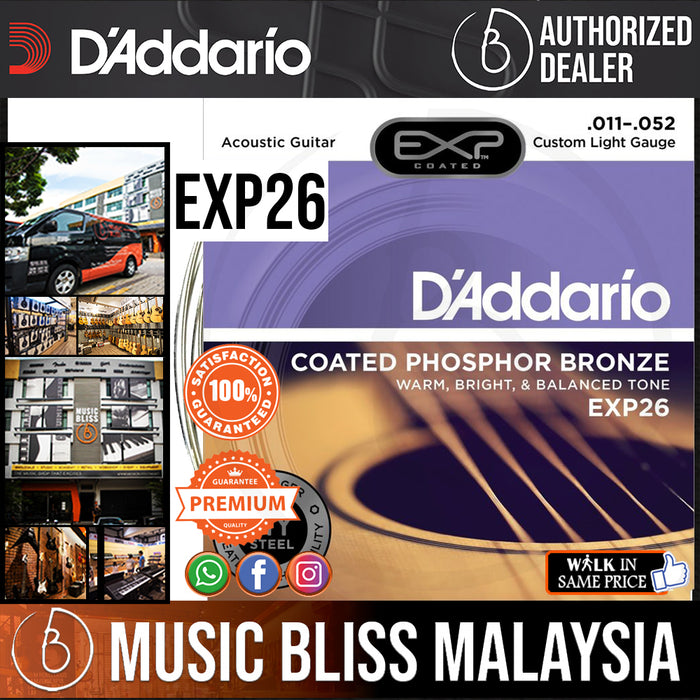 D'Addario EXP26 Coated Phosphor Bronze Custom Light Acoustic Strings - Music Bliss Malaysia
