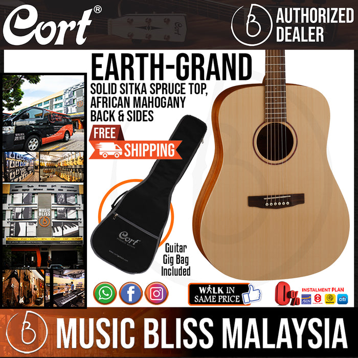 Cort Earth Grand Acoustic Guitar with Bag (Earth-Grand EarthGrand) - Music Bliss Malaysia