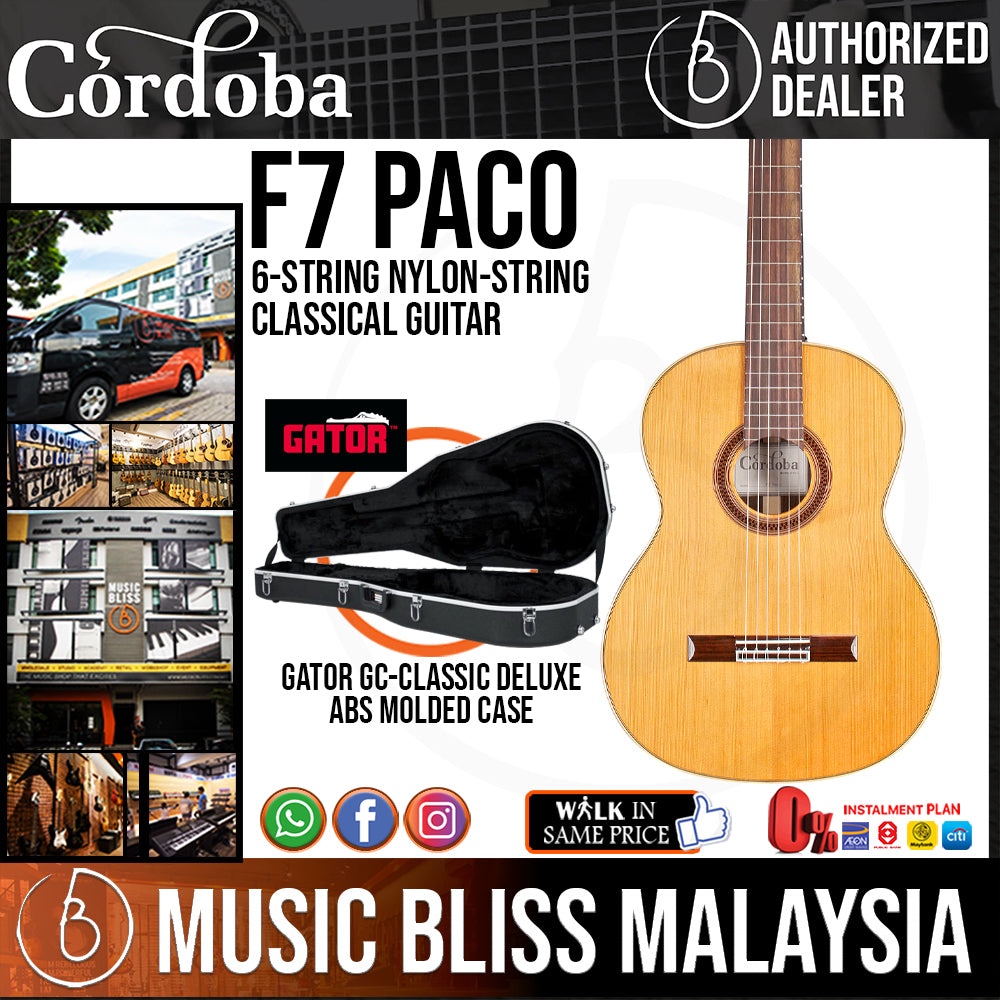 Cordoba F7 Paco Flamenco - Solid Canadian Cedar Top, Rosewood Back & Sides, With Guitar Case - Music Bliss Malaysia