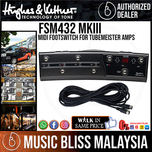 Hughes & Kettner FSM432 MKIII MIDI Footswitch for TubeMeister Amps - Music Bliss Malaysia
