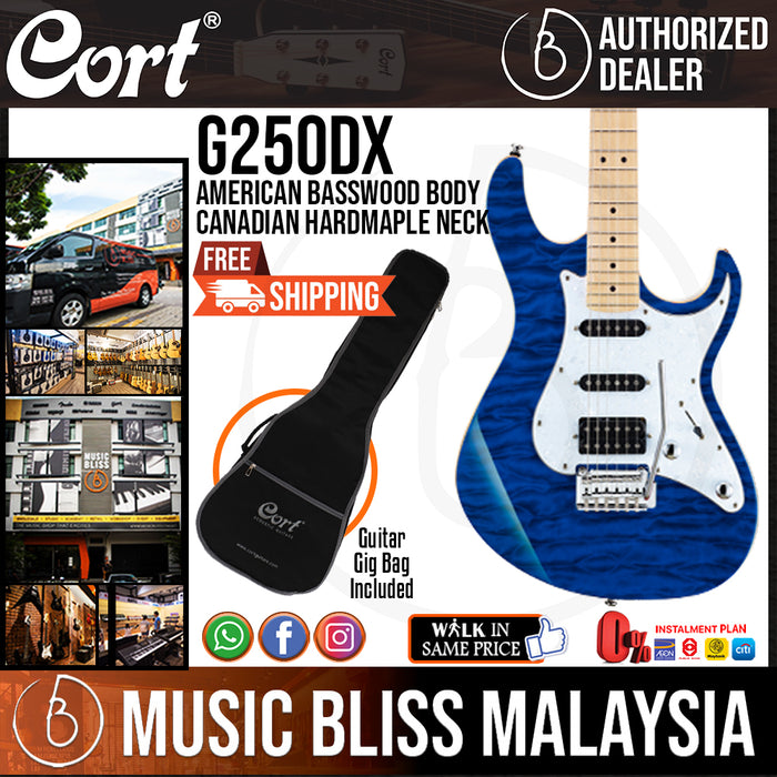 Cort G250DX Electric Guitar with Bag - Trans Blue (G-250DX G 250DX) - Music Bliss Malaysia