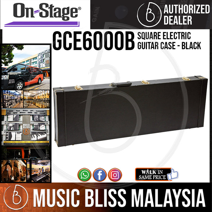 On-Stage GCE6000B Square Electric Guitar Case - Black (OSS GCE6000B) - Music Bliss Malaysia