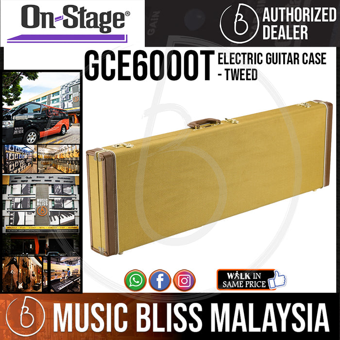 On-Stage GCE6000T Electric Guitar Case - Tweed (OSS GCE6000T) - Music Bliss Malaysia