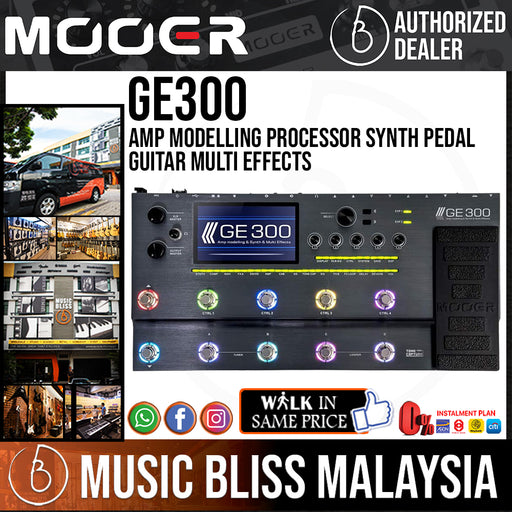 Mooer GE300 Amp Modelling Processor Synth Pedal Guitar Multi Effects (GE-300) - Music Bliss Malaysia