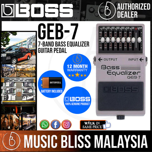 Boss GEB-7 7-band Bass Equalizer Guitar Pedal (GEB7) - Music Bliss Malaysia