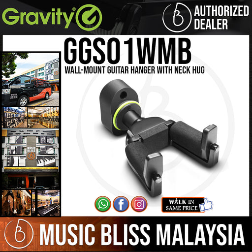 Gravity GS01WMB Wall-Mount Guitar Hanger with Neck Hug (GS 01 WMB)
