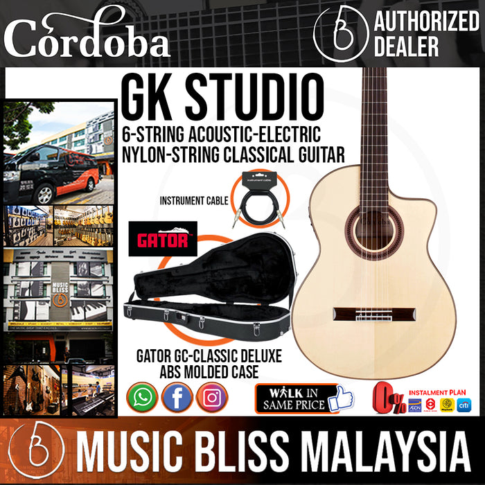 Cordoba GK Studio - Solid European Spruce Top, Cypress Back & Sides with Pickup - Music Bliss Malaysia