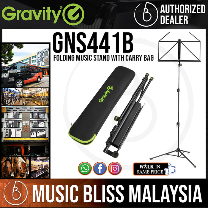 Gravity GNS441B Folding Music Stand with Carry Bag (NS 441 B) - Music Bliss Malaysia