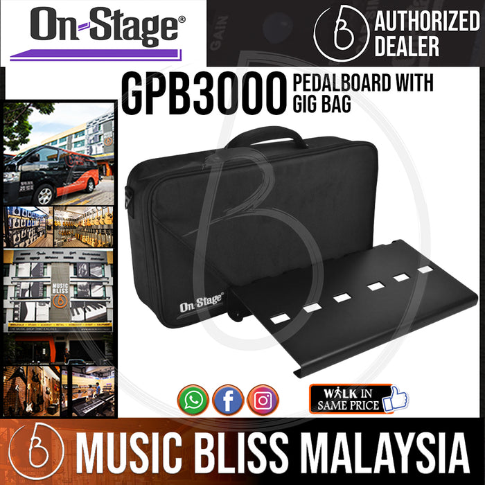 On-Stage GPB3000 Pedalboard with Gig Bag [For 10 pedals] (OSS GPB3000)