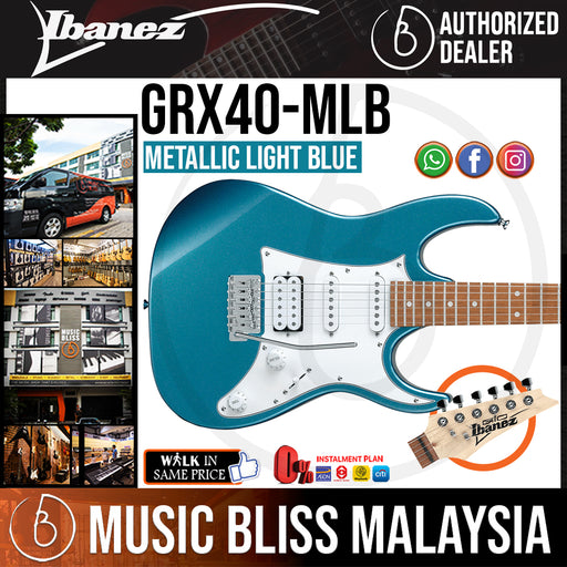 Ibanez GIO GRX40 Electric Guitar - Metallic Light Blue (GRX40-MLB) *Price Match Promotion* - Music Bliss Malaysia