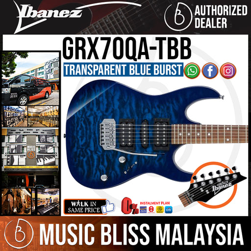 Ibanez Gio GRX70QA - Transparent Blue Burst (GRX70QA-TBB) - Music Bliss Malaysia