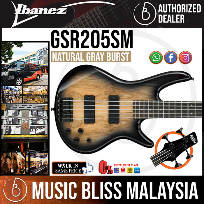 Ibanez Gio GSR205SM - Spalted Maple Top Natural Grey Burst (GSR205SM-NGT) *Price Match Promotion* - Music Bliss Malaysia