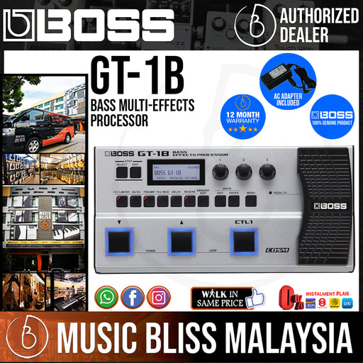Boss GT-1B Bass Multi-effects Processor with Original Boss Adapter (GT1B) - Music Bliss Malaysia