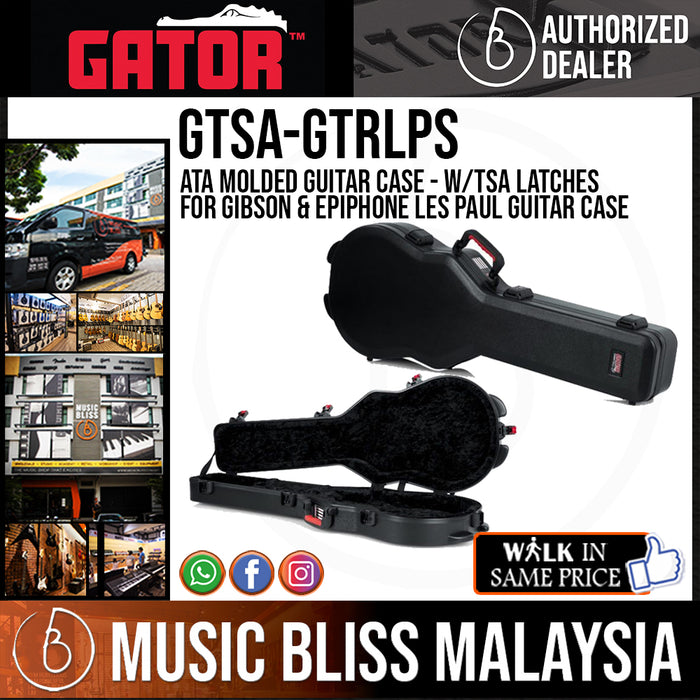 Gator GTSA-GTRLPS ATA Molded Guitar Case - w/TSA latches for Gibson & Epiphone Les Paul Guitar Case - Music Bliss Malaysia