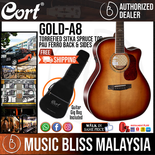 Cort Gold-A8 Acoustic Guitar with Bag - Light Burst (Gold A8 GoldA8)
