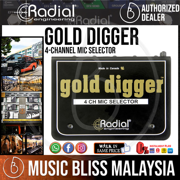 Radial Engineering Gold Digger 4-channel Mic Selector *RMCO Promotion* - Music Bliss Malaysia
