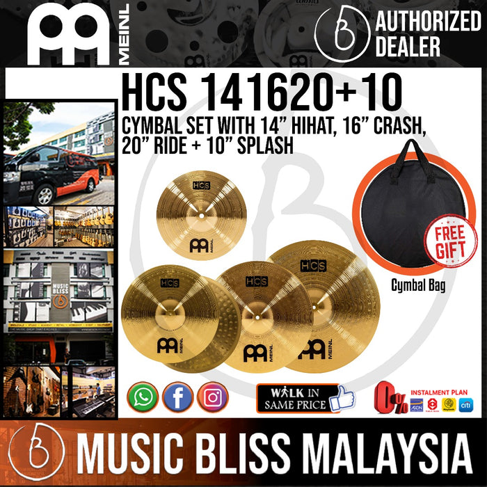 "Meinl HCS141620+10 Cymbal Set with 14"" hihats, 16"" Crash, 20"" Ride + 10"" Splash with Free Cymbal Bag - Music Bliss Malaysia"