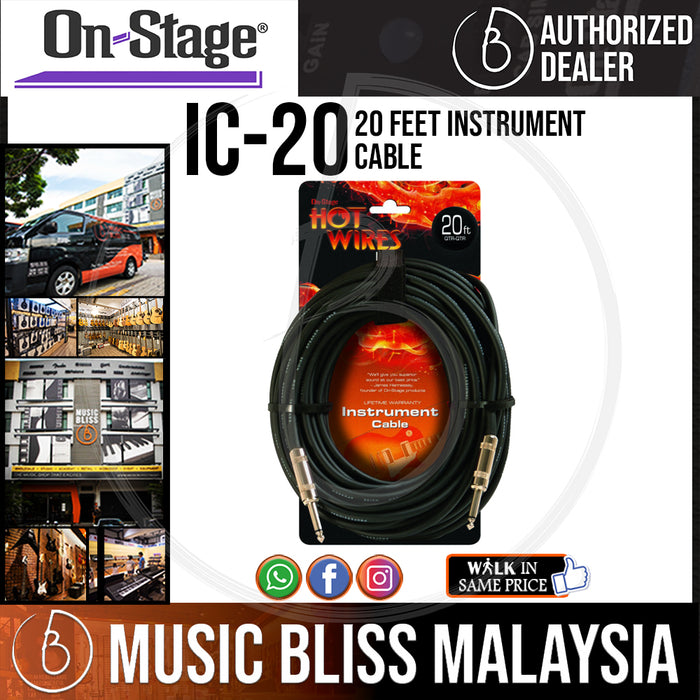 On-Stage IC-20 20 Feet Instrument Cable (OSS IC-20) - Music Bliss Malaysia