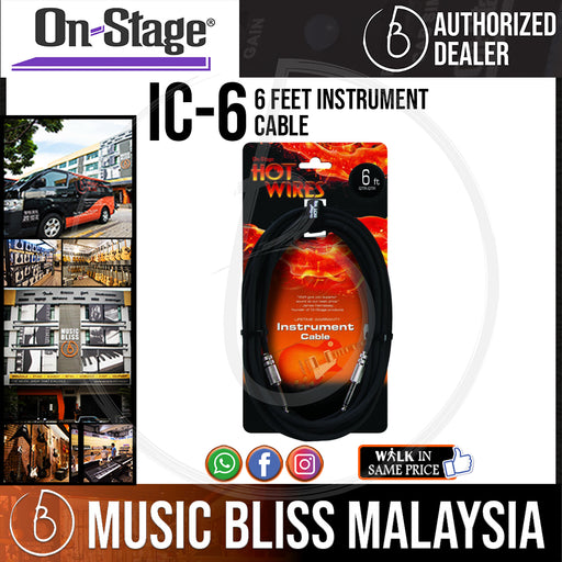 On-Stage IC-6 6 Feet Instrument Cable (OSS IC-6) - Music Bliss Malaysia