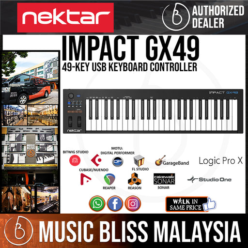 Nektar Impact GX49 49 Key Full Sized Synth Velocity Sensitive Keyboard Controller - Music Bliss Malaysia