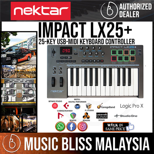 Nektar Impact LX25+ 25 Key Synth Action Keys Keyboard Controller - Music Bliss Malaysia