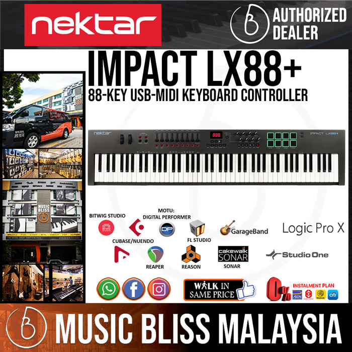 Nektar Impact LX88+ 88 Key Velocity Sensitive Semi Weighted Keyboard  Controller