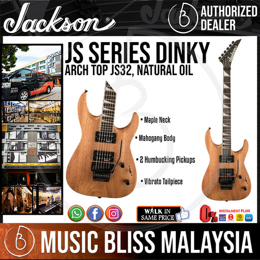 Jackson JS Series Dinky Arch Top JS32 Electric Guitar, 24 Fret Rosewood FB w/Floating Tremolo, Natural Oil