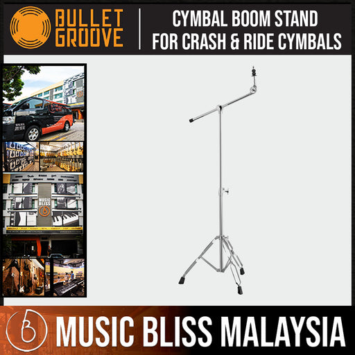 Bullet Groove Boom Cymbal Stand, Cymbal Boom Stand for Crash & Ride Cymbals, Best Budget Boom Cymbal Stand - Music Bliss Malaysia