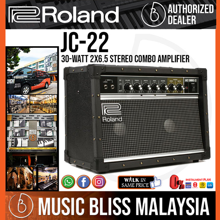 Roland JC-22 Jazz Chorus 30-watt 2x6.5 Stereo Combo Amplifier (JC22) - Music Bliss Malaysia