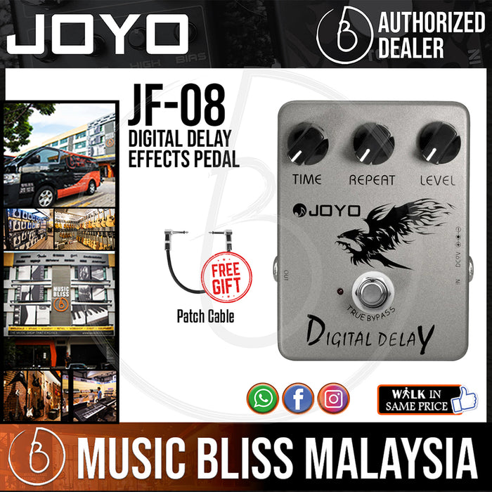 Joyo JF-08 Digital Delay Effects Pedal with Free Patch Cable (JF08) - Music Bliss Malaysia