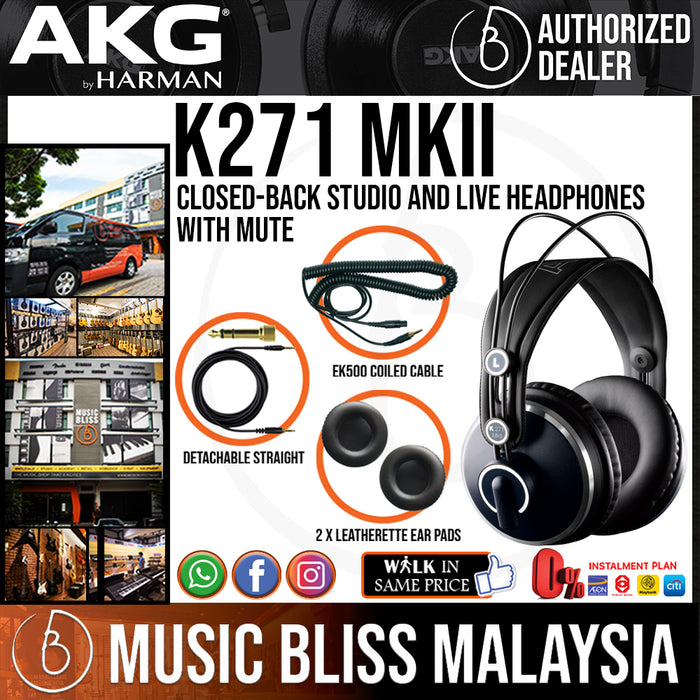 AKG K271 MKII Closed-back Studio and Live Headphones with Mute (K-271 / K 271 mk2) *Everyday Low Prices Promotion* - Music Bliss Malaysia