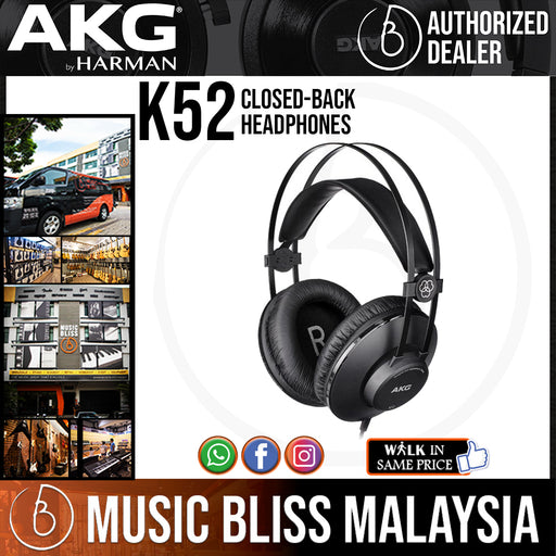 AKG K52 Closed-back Headphones (K-52 / K 52) *Crazy Sales Promotion* - Music Bliss Malaysia