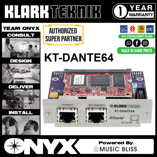 Klark Teknik KT-DANTE64 Audinate Dante Network Module with up to 64 Bidirectional Channels (KTDANTE64) * Everyday Low Prices Promotion *