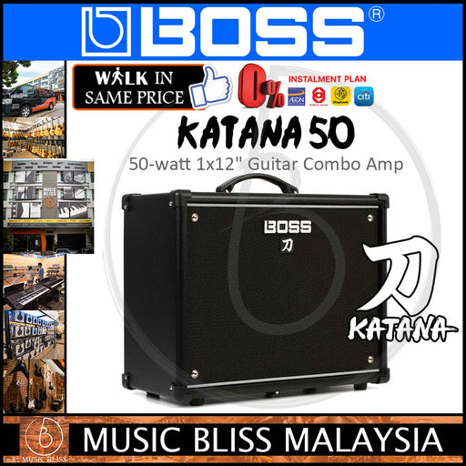 "Boss Katana 50 - 50/25/0.5-watt 1x12"" COSM Combo Amplifier with Gator Amp Stand, Cable and String (Katana50/Katana-50/KTN-50)"