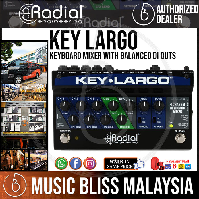 Radial Engineering Key-Largo Keyboard Mixer with Balanced DI Outs (Key Largo) *RMCO Promotion* - Music Bliss Malaysia