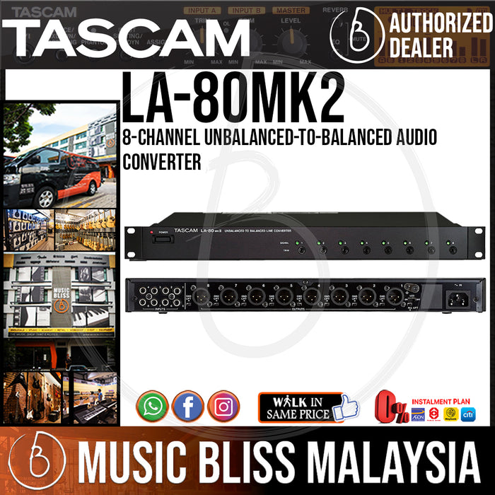 Tascam LA-80mkII 8-Channel Unbalanced-to-Balanced Audio Converter (LA80mkII) - Music Bliss Malaysia