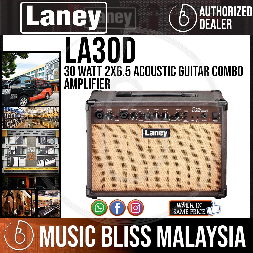 Laney LA30D 30 Watt 2x6.5 Acoustic Guitar Combo Amplifier - Music Bliss Malaysia